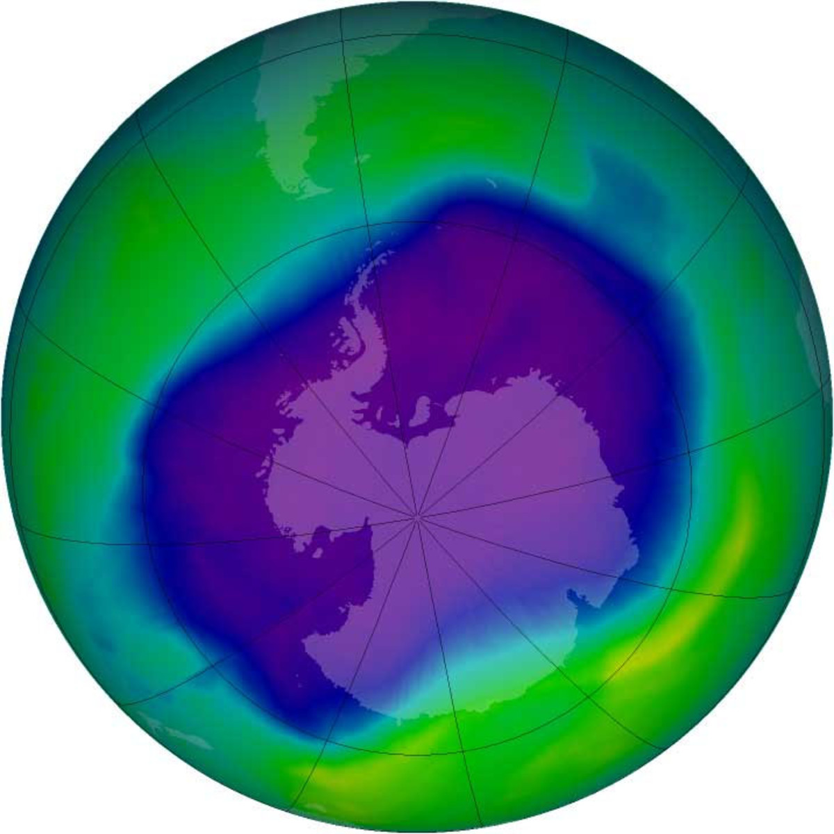 Ozone hole over the South Pole