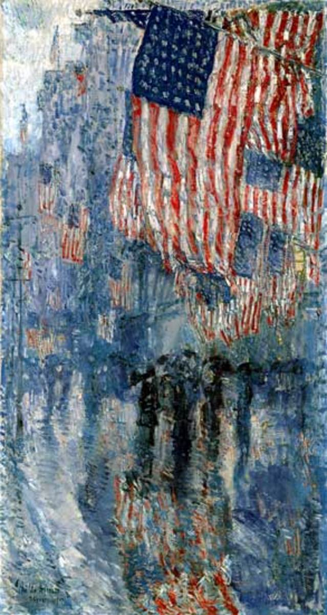 "Some of the paintings that President Obama has added to the Oval Office include Frederick Childe Hassam's ""The Avenue in the Rain"" (above) and Norman Rockwell's ""Statue of Liberty"" (below)"