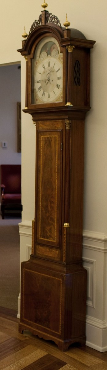 The Seymour Tall Case Clock has been a prominent fixture in the Oval Office since the Ford Administration.