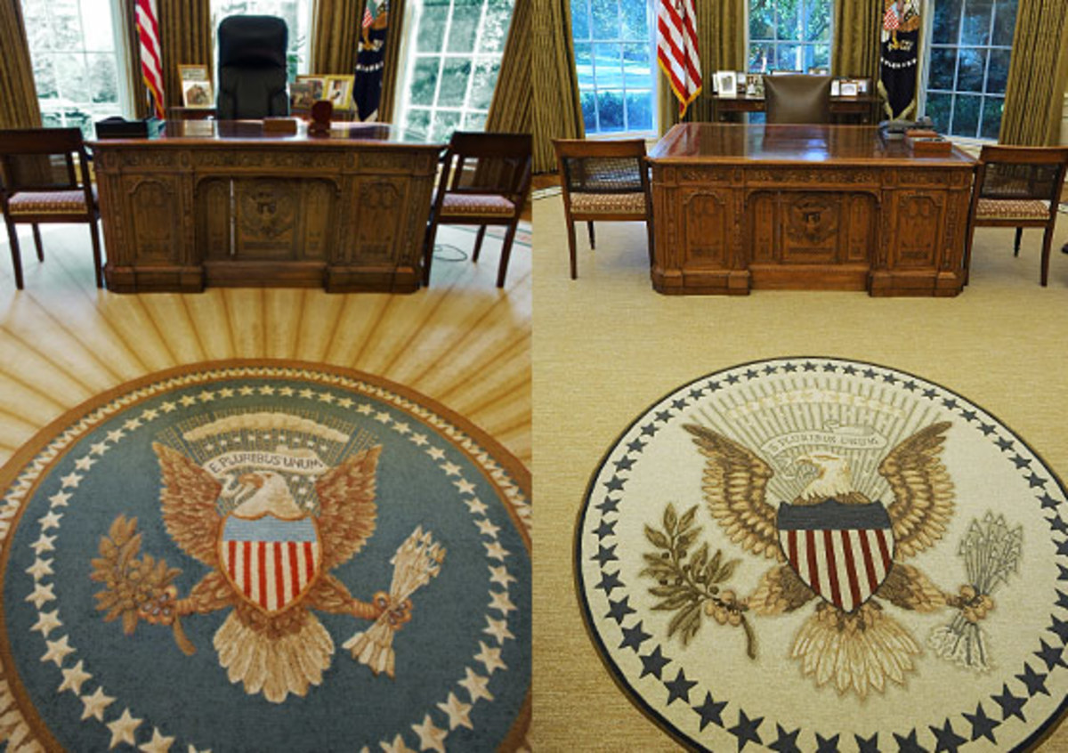 "New York Magazine referred to the Obama Oval Office rug (right) as the ""less-optimistic rug"" as compared to the rug from George W. Bush's Oval Office (left) with its radiant lines that move out from the presidential seal."