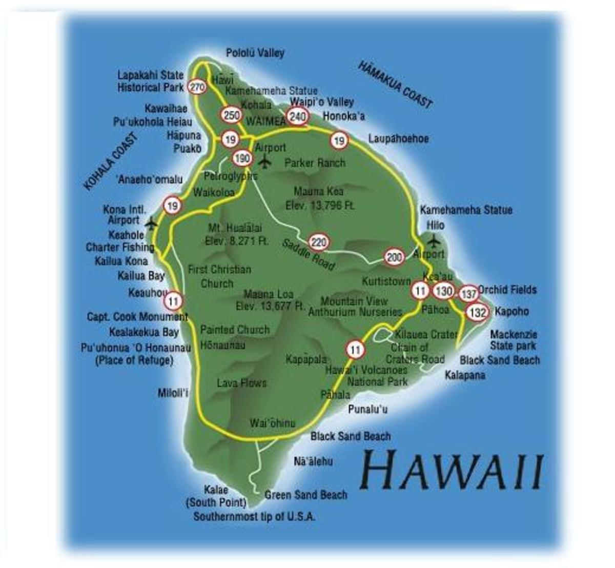 Map shows Kailua Kona on the west side of island. Old airport is a park now. There is a new modern international airport to the north.