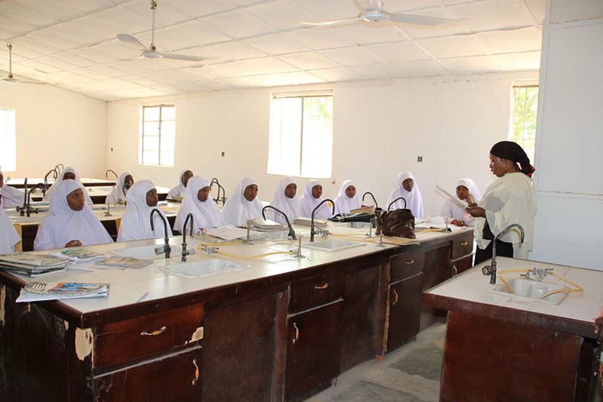 A classroom of midwives at the Jigawa State School of Midwifery in northern Nigeria. In 2012, the British Government launched Women for Health to support female health workers in Nigeria.