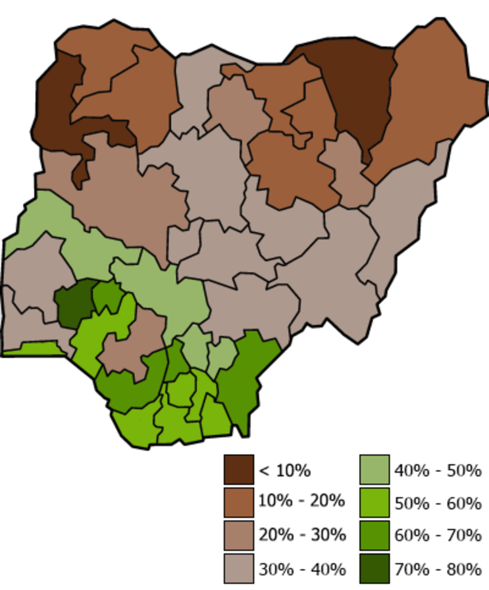 Nigerian primary school enrollment by state. By ClosingTime (Own work), licensed by CC-BY-SA-3.0