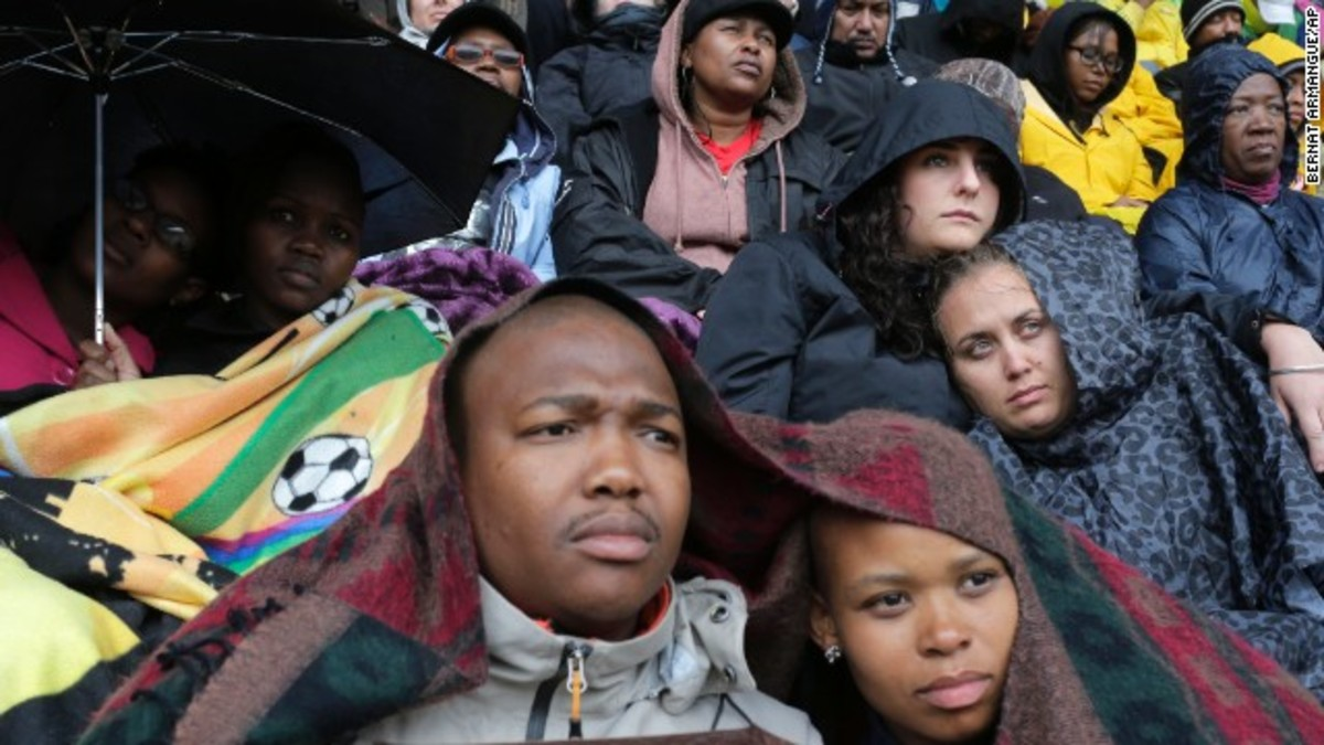 "People At Tata's Memorial - FNB Stadium: In his Nobel acceptance speech at the time, Mandela said: ""We live with the hope that as she battles to remake herself, South Africa will be like a microcosm of the new world that is striving to be born."""