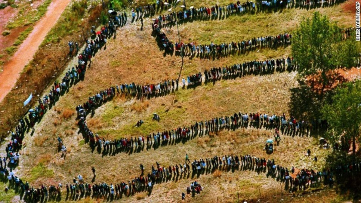 South Africa Voting Mandela into Power in south Africa's First election where Africans were casting their votes