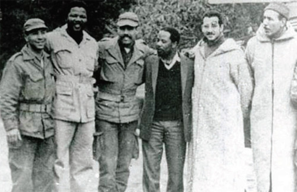 Nelson Mandela, founder of Um Khonto we Sizwe, the armed wing of the ANC, received military training at an Algerian FLN camp in Morocco in early 1962.,