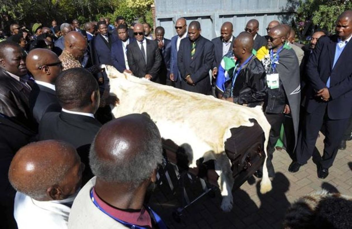 Local Chief Matanzima drapes the coffin of former South African President Nelson Mandela in a lion skin at Mandela's home in the village of Qunu, Eastern Cape as Mandela's grandson Mandla (R) looks on