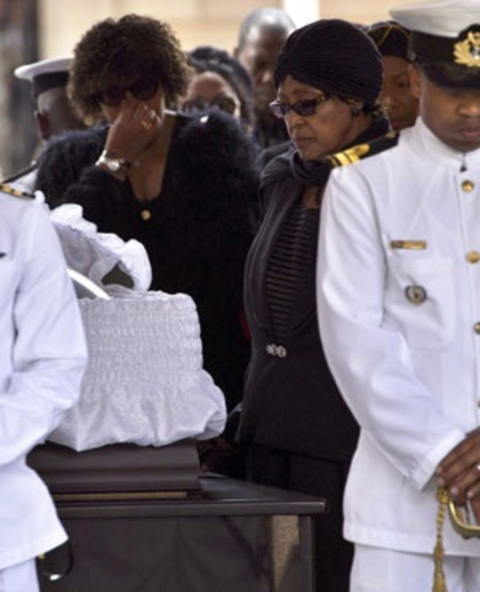 Winnie next to Mandela's Coffin lying in State in Pretoria. Madikizela-Mandela bids farewell to the former president lying in state at the Union Buildings in Pretoria