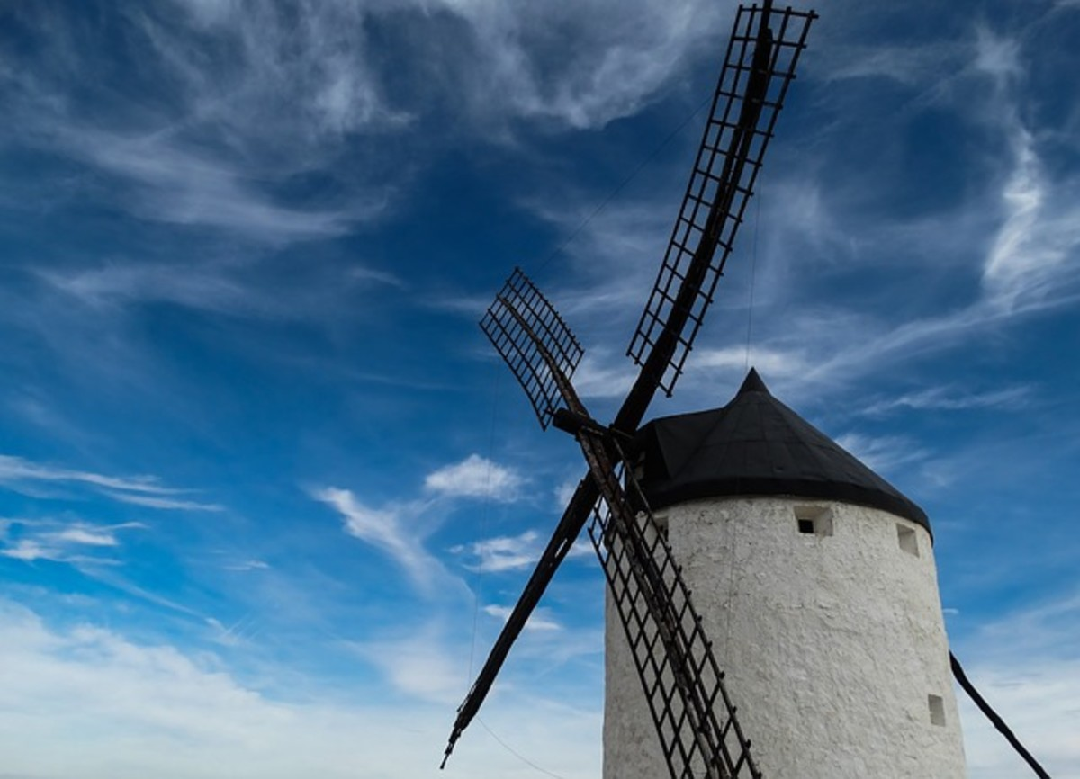 A traditional windmill.  Utilizing wind power i not a new thing, such mills were a common sight before the onset of full industrialization and fossil fuel power.  Modern technology can be used to harness wind energy more efficiently now, however.