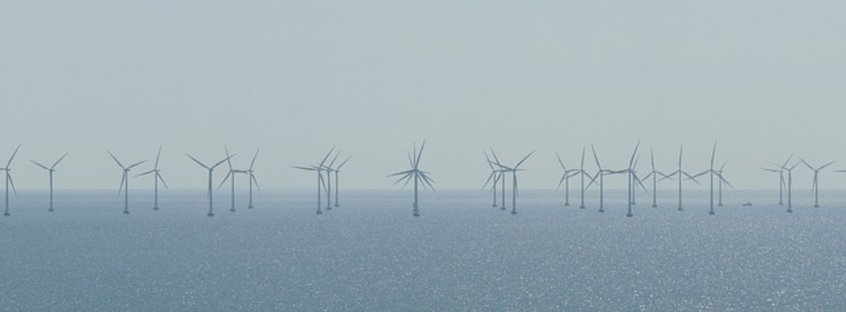 Wind farm.  Turbines are used to harness the wind's power.  They are an increasingly popular sight, but some local people object to them, arguing that they are ugly and disrupt the environment and quality of life in other ways.
