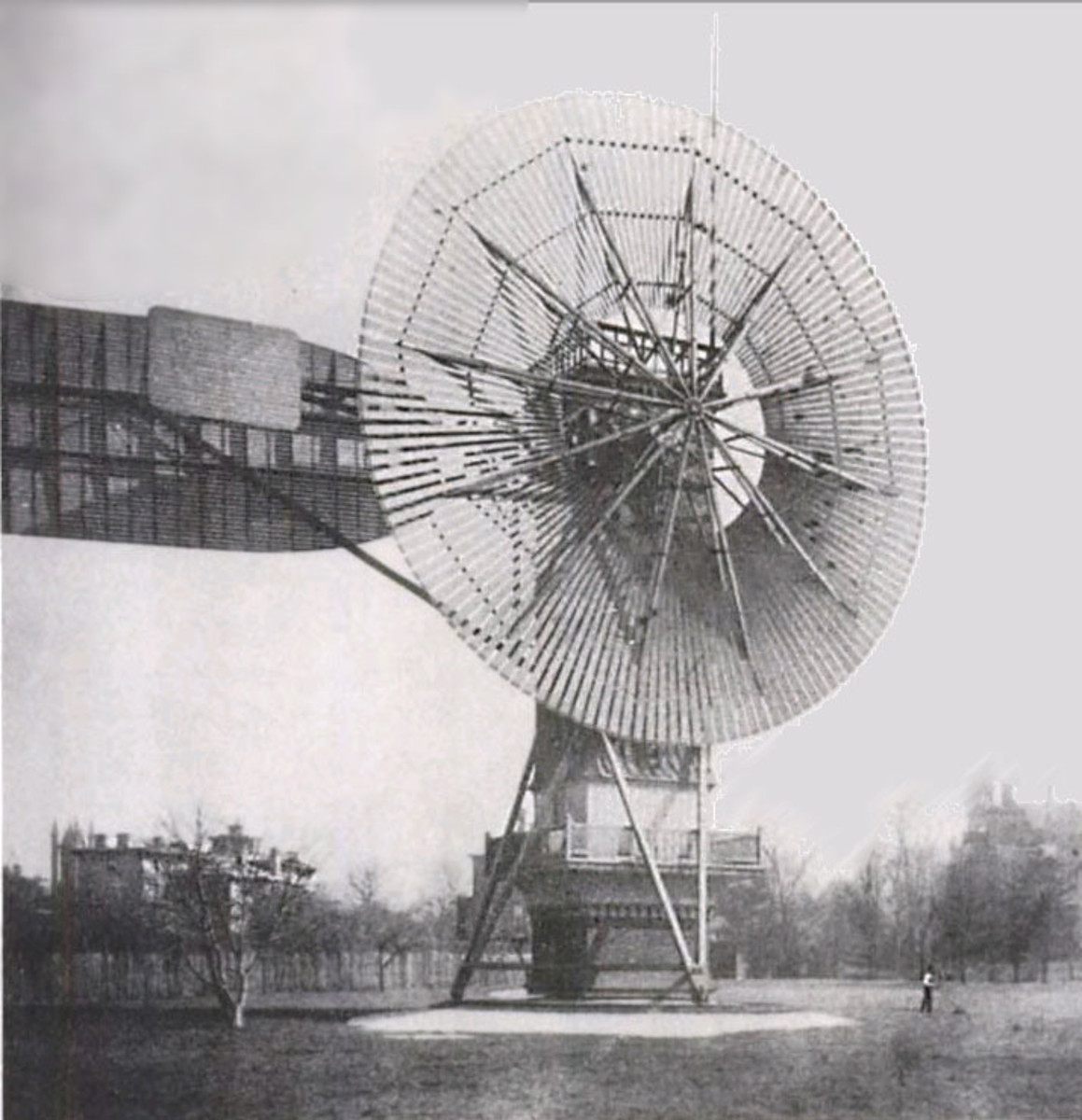 Wind power has been around in human life for a long time, wind-powered sails on boats being a classic example.  It wasn't until the 19th century that it was used to create electricity, however.  Pictured is Charles Brush's windmill of 1888.