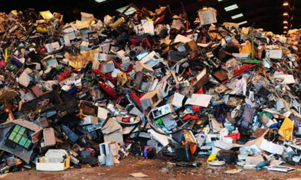 Electrical goods thrown away in charity shops.