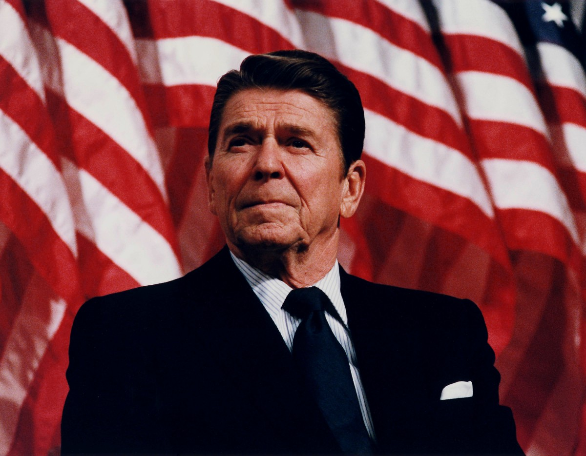 Former President Ronald Reagan in Minneapolis at a rally speaking for then Senator Durenberger on February 8, 1982.