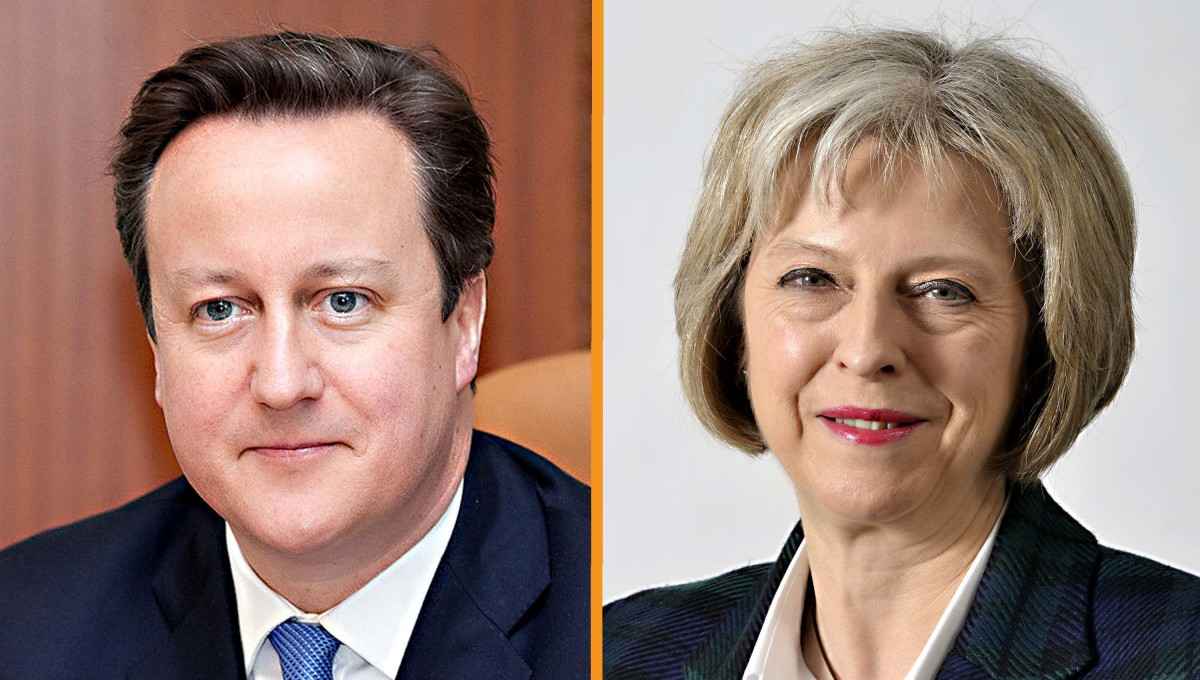 David Cameron and Theresa May. Mr Cameron was undoubtedly an 'establishment' figure. But so is his replacement Mrs May, Home Secretary of long standing