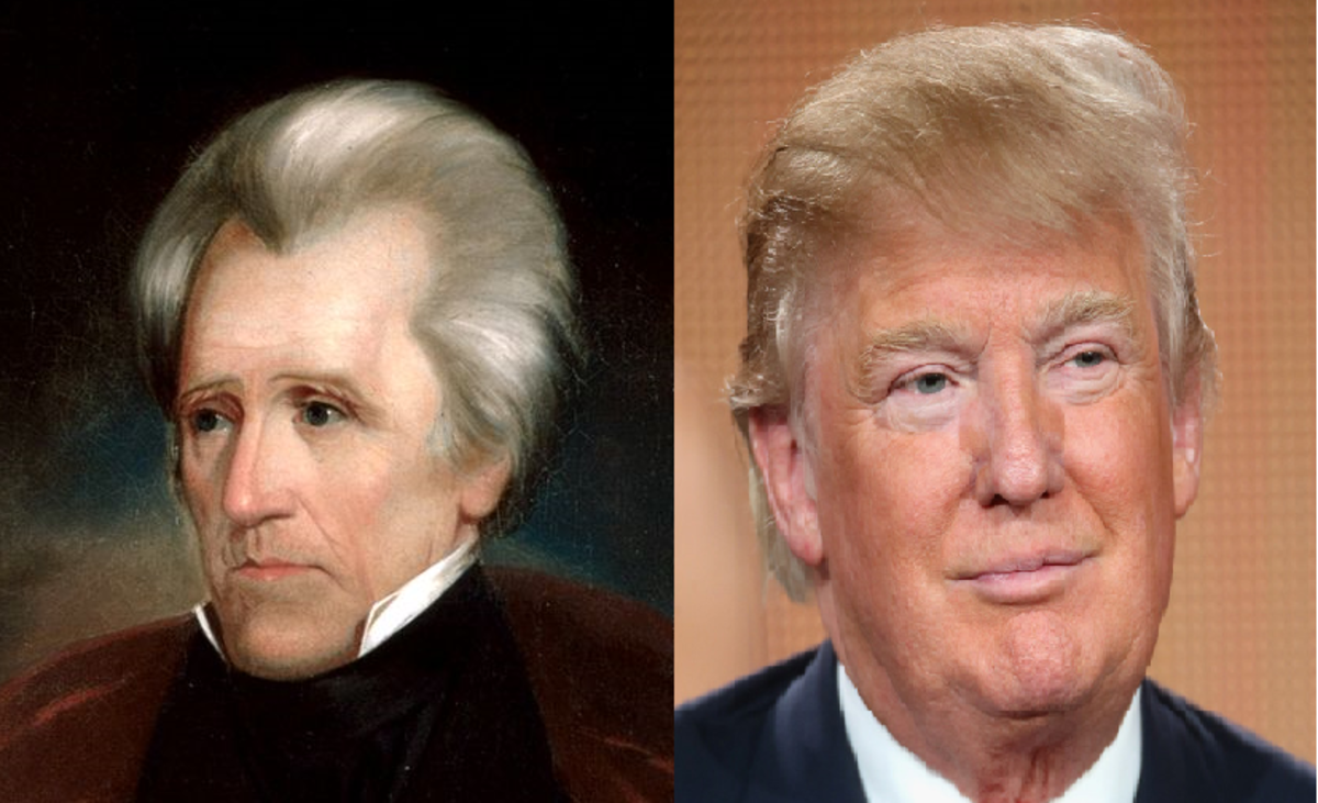 Andrew Jackson and Donald Trump.  Even the combover is disturbingly similar.