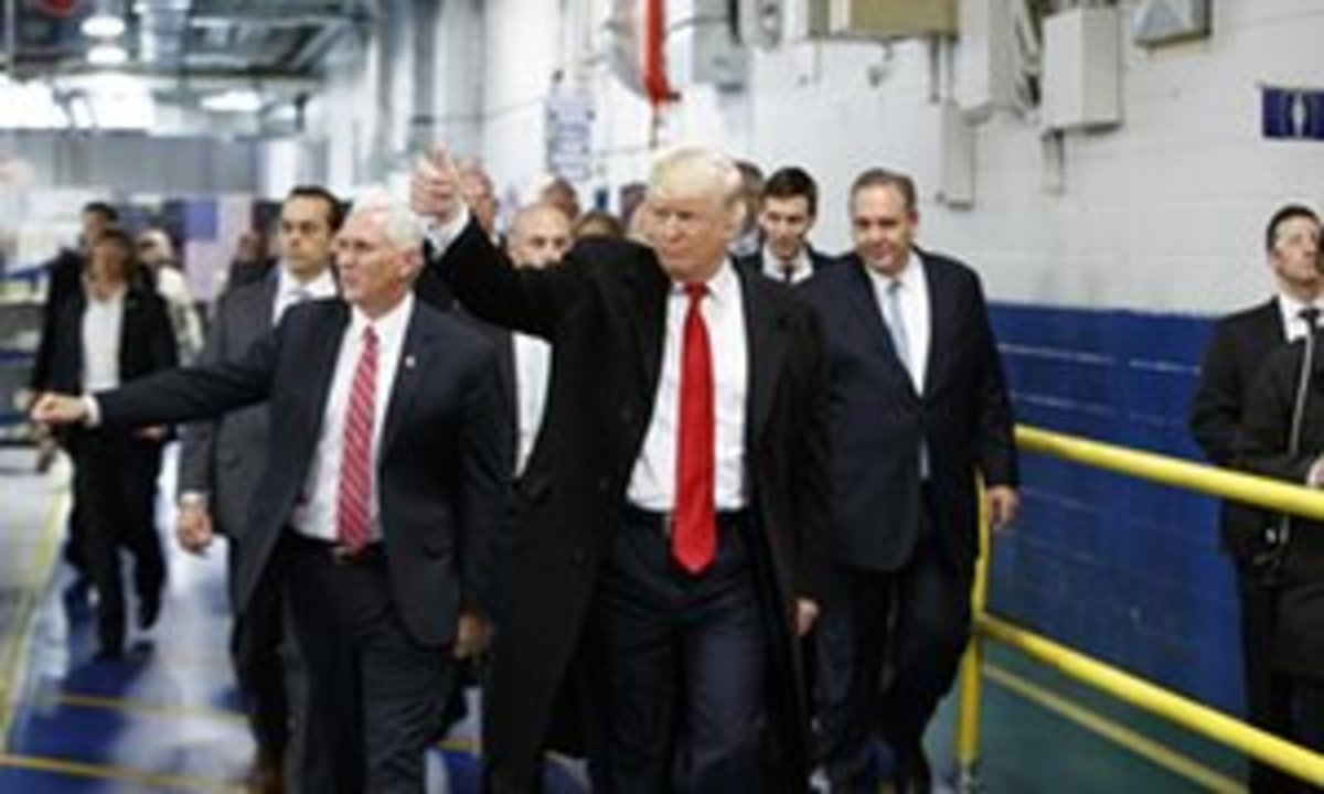 Vice President-elect Pence and President-elect Trump during a tour of a Carrier plant in Indianapolis.
