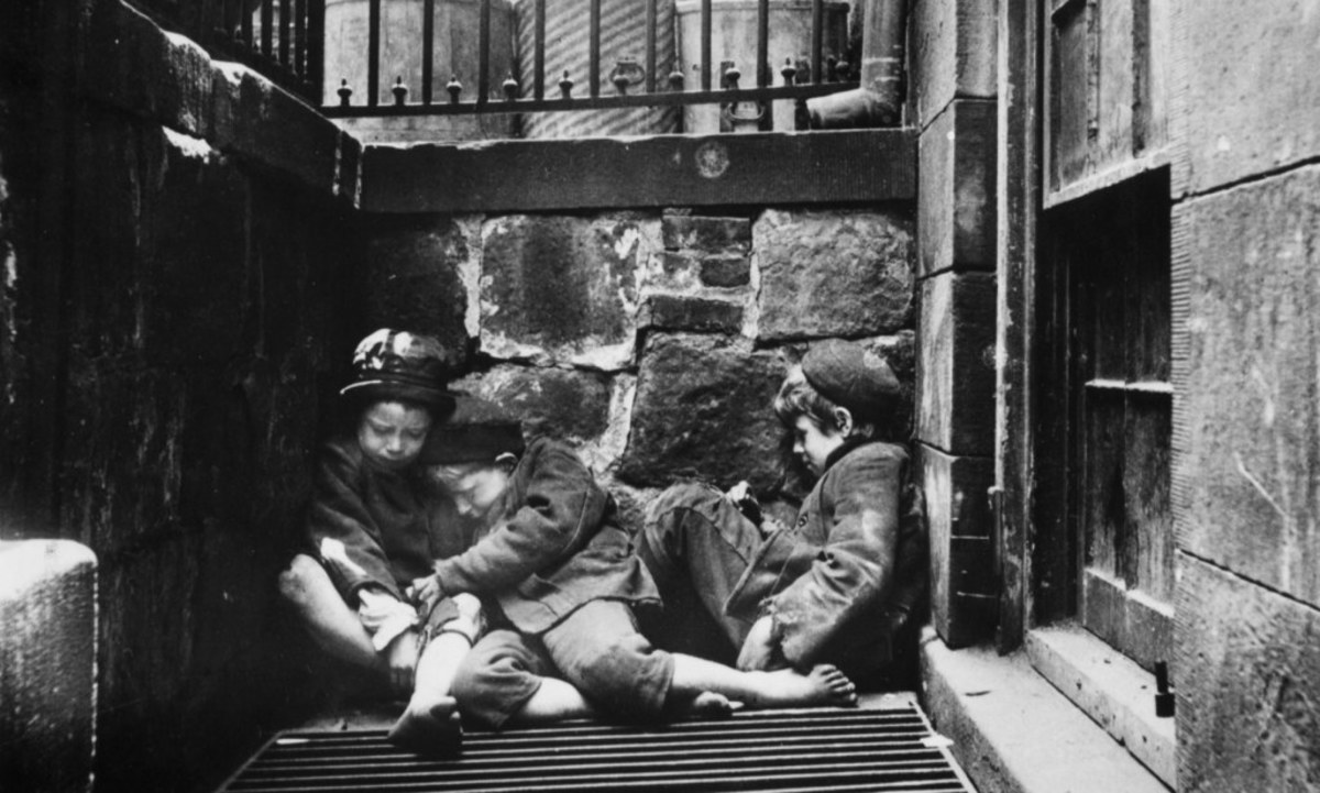 These three children trying to keep warm in 19th century Manhattan represents what many immigrants feared.  It was a struggle to survive and allowing another group to succeed could mean this fate for who lost out. It was a very real concern.