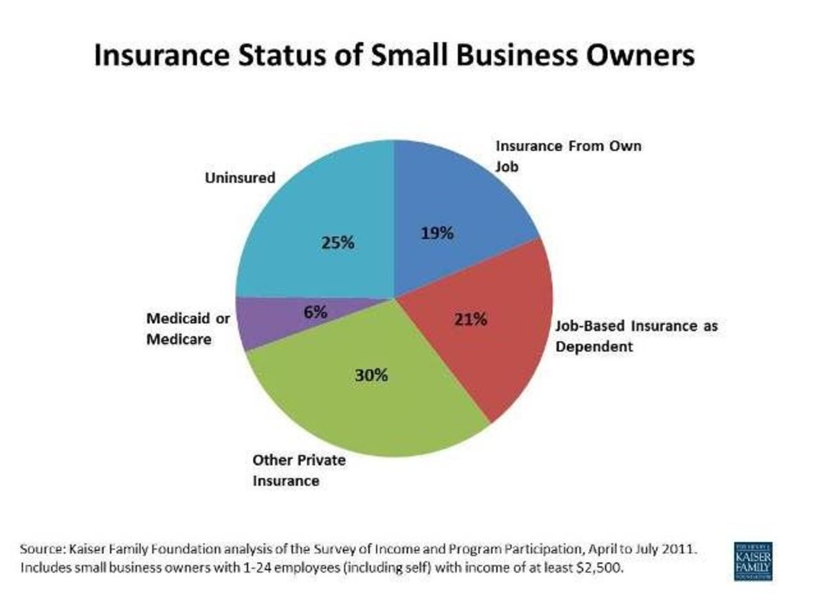 Take a look at this chart. Only 19% of small business owners can get insurance on their own. The majority go uninsured or they depend on someone else in their family to carry it.