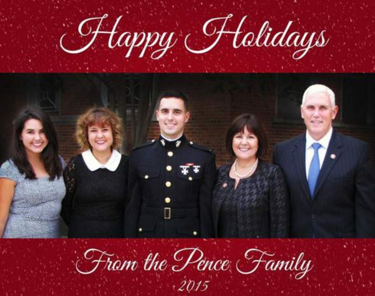 (Left to Right) Audrey, Charlotte, Michael, Karen, Mike Pence