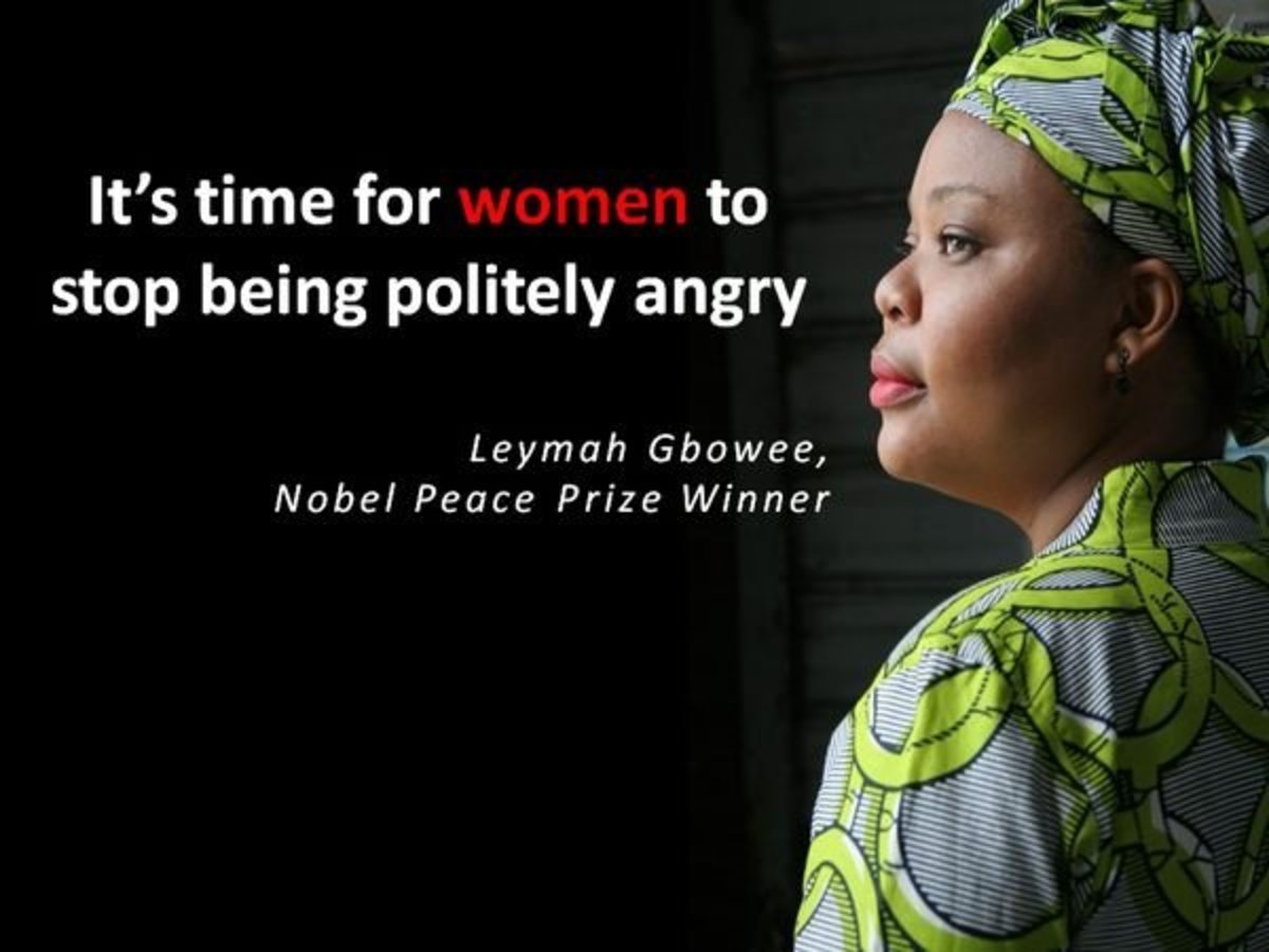 "Leymah Roberta Gbowee, a Liberian peace activist responsible for leading a women's peace movement. With Ellen Johnson Sirleaf and Tawakkul Karman, was awarded the 2011 Nobel Peace Prize ""for their non-violent struggle for the safety of women."