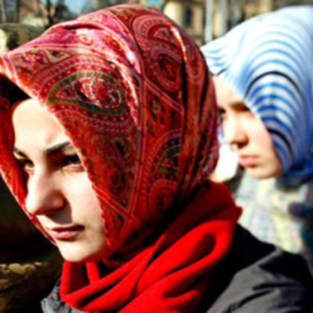 Women wearing traditional Turkish-style hijab