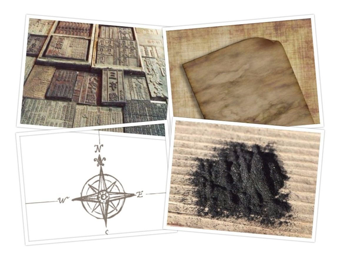 China's Four Great Inventions: Compass, gunpowder, print, paper