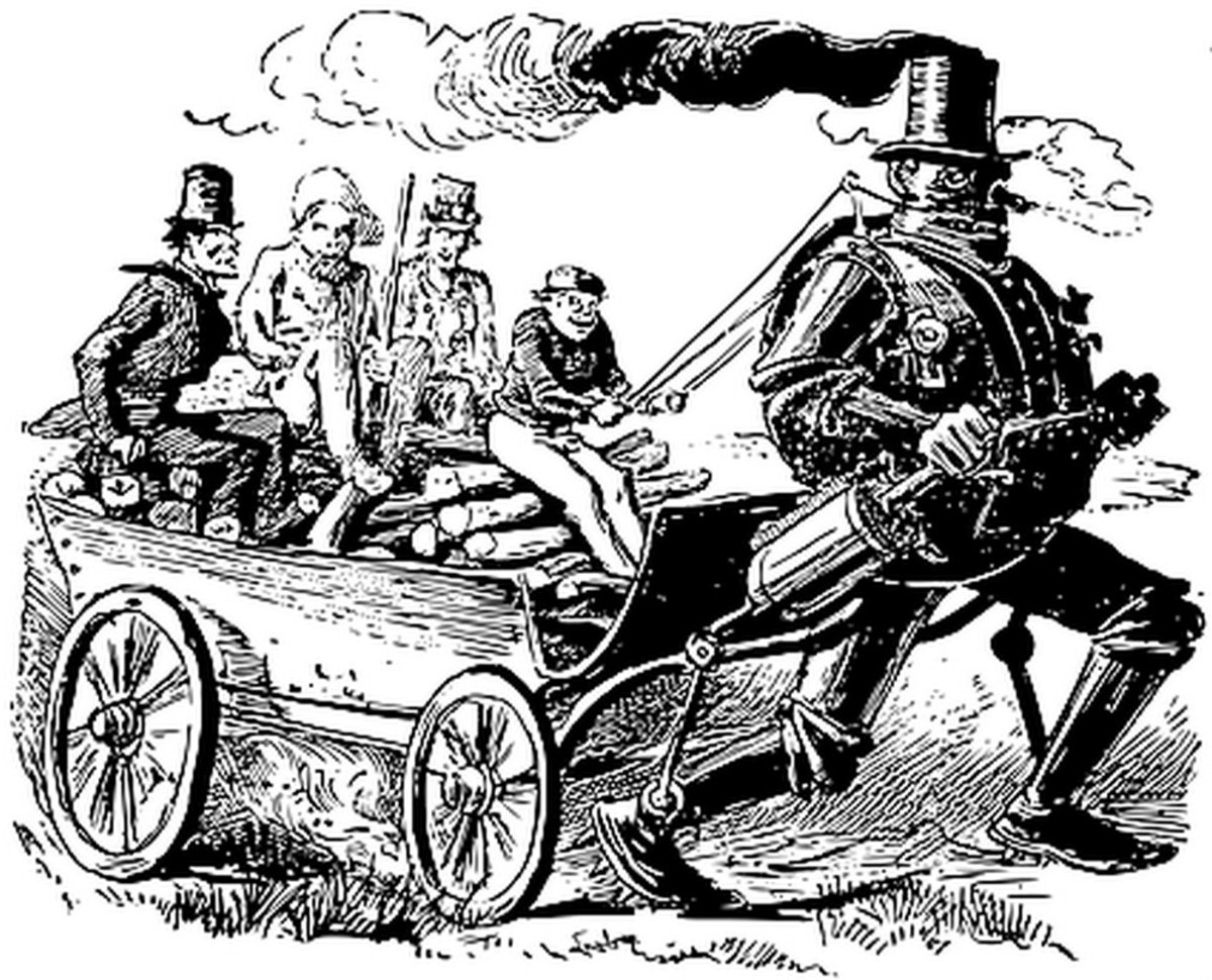 "Futuristic Steambot? Zadoc Dederick's steam-powered robot of 1868, a future ""horseless carriage"" proving that virtually no one can accurately predict the future."