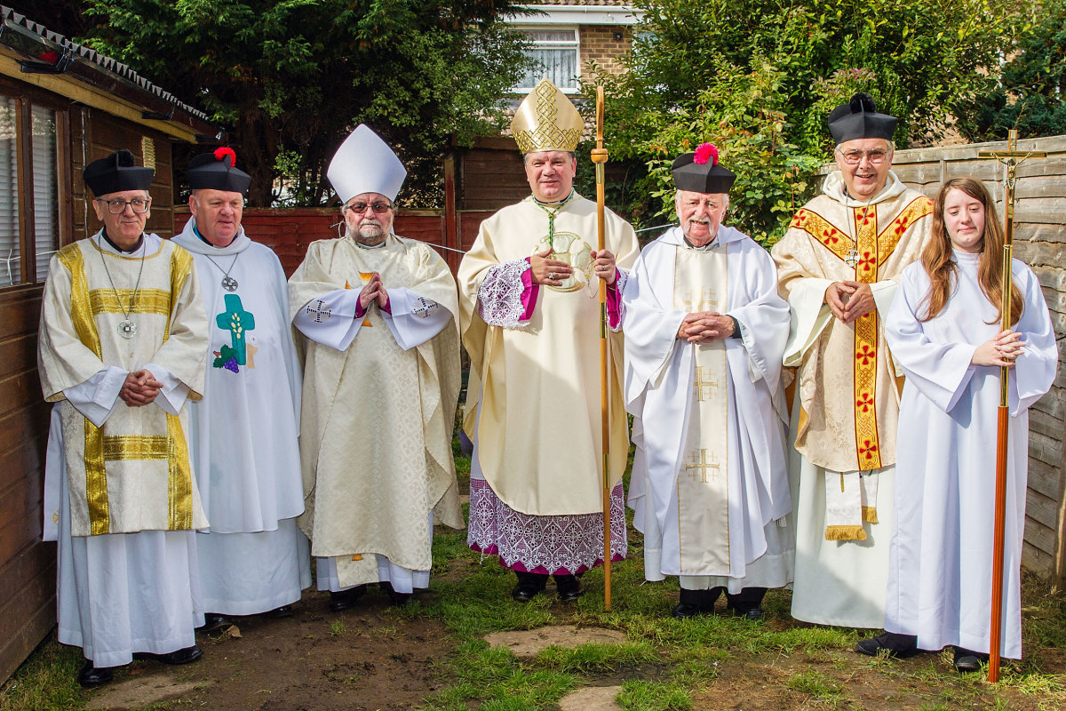 The Ecumenical Society of St. Augustine of Canterbury.  My close friend, Adge, 2nd from right; with his Archbishop in the middle.