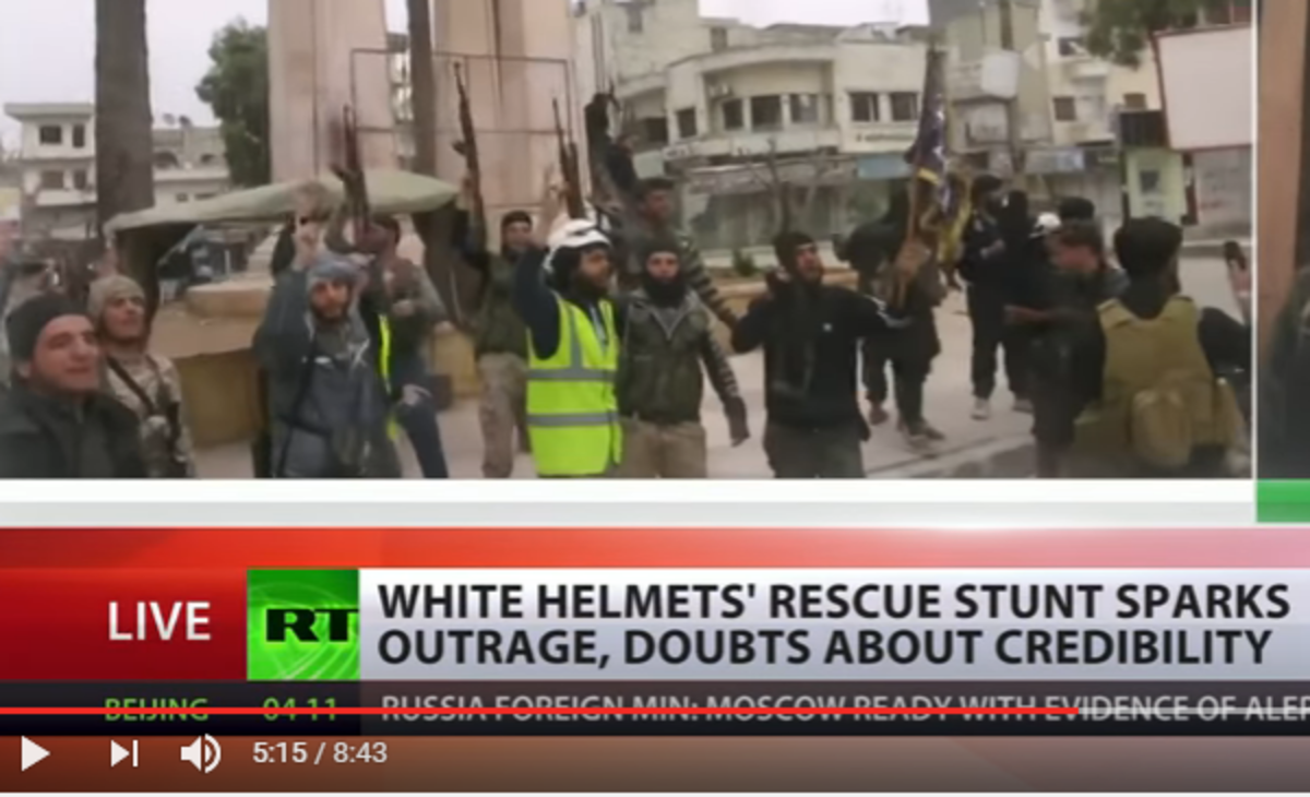 "Anti-government Syrian ""civil defense"" force the White Helmets in RT report."