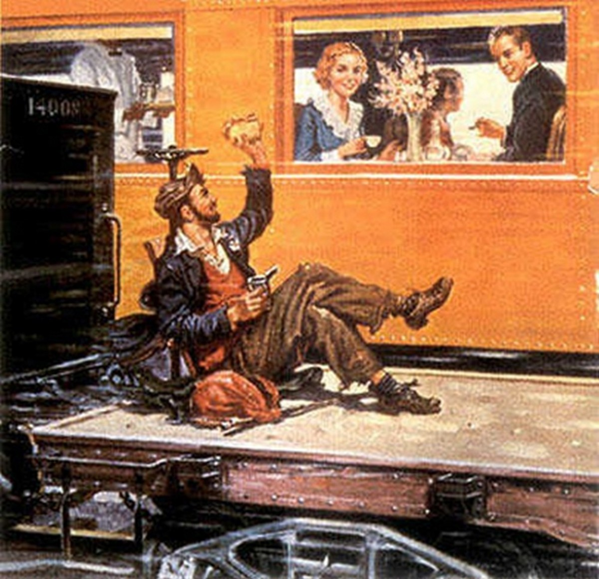Do the people in the dining car think this free rider is a problem?