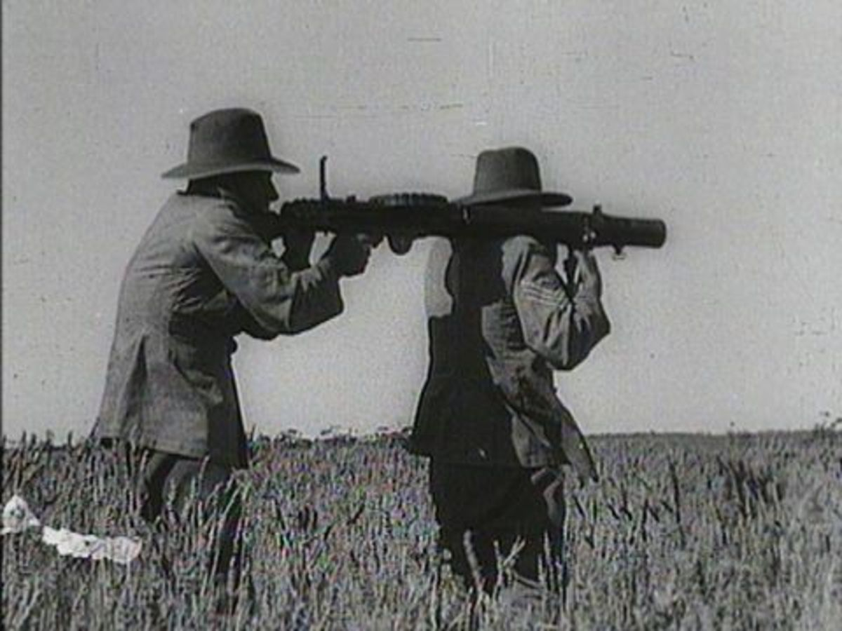 The Lewis gun in action against the dreaded emus.
