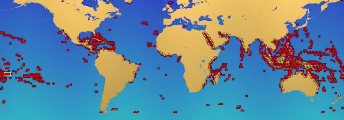 Coral reef locations.