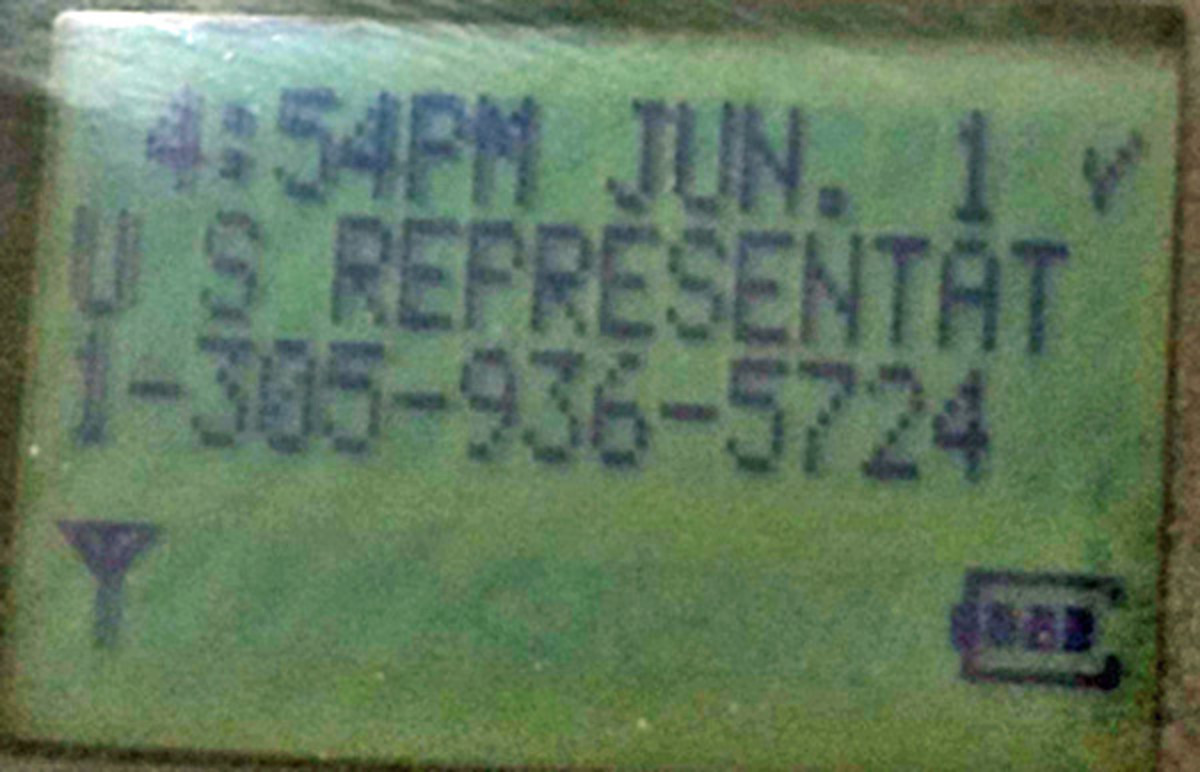 Photo of caller ID in Beck court notice.