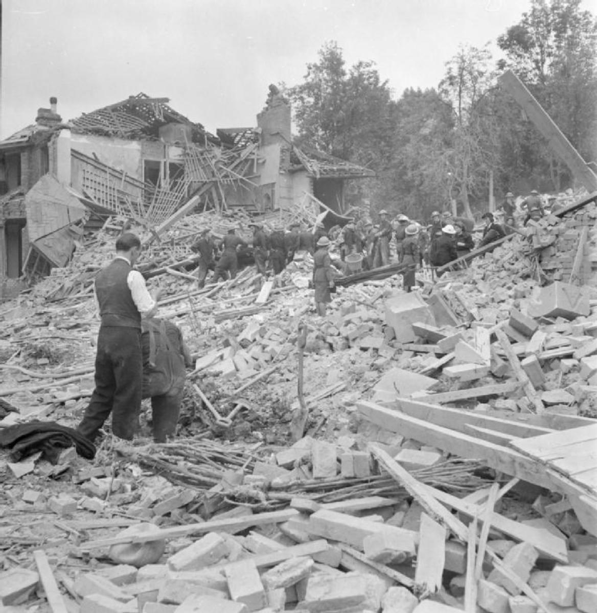 Flying Bomb- V1 Bomb Damage in London, England, UK, 1944