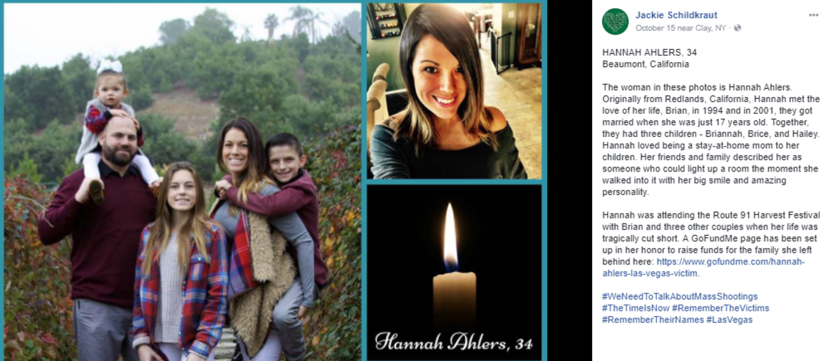 Hannah was attending the Route 91 Harvest Festival with her husband Brian and three other couples when her life was tragically cut short.