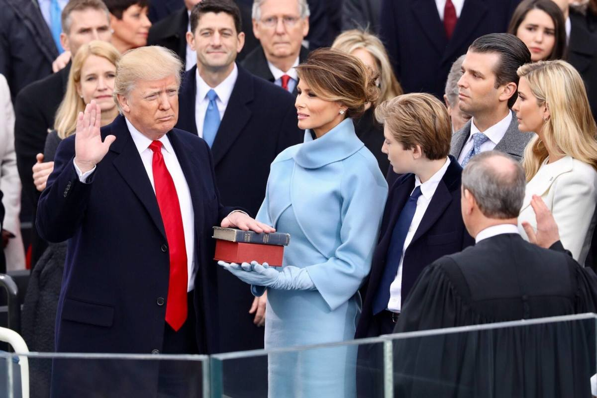 Donald Trump takes the oath of office as the President of the United States.