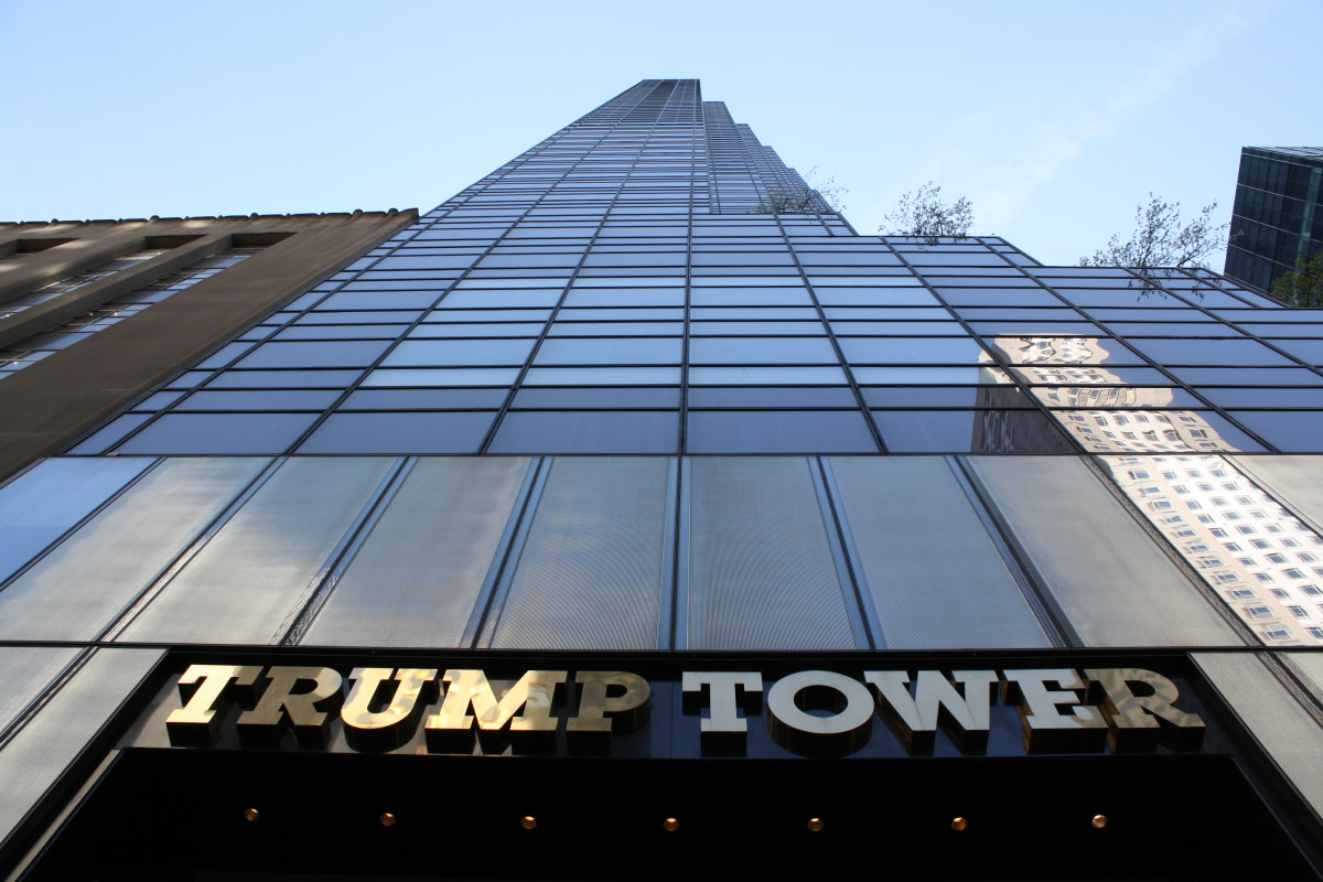 Trump Tower: a 58-story, 664-foot-high, mixed-use skyscraper located at 721–725 Fifth Avenue between 56th and 57th Streets in Midtown Manhattan, New York City.