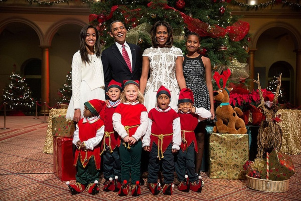 The Obamas at the National Building Museum in Washington on December 15, 2013.