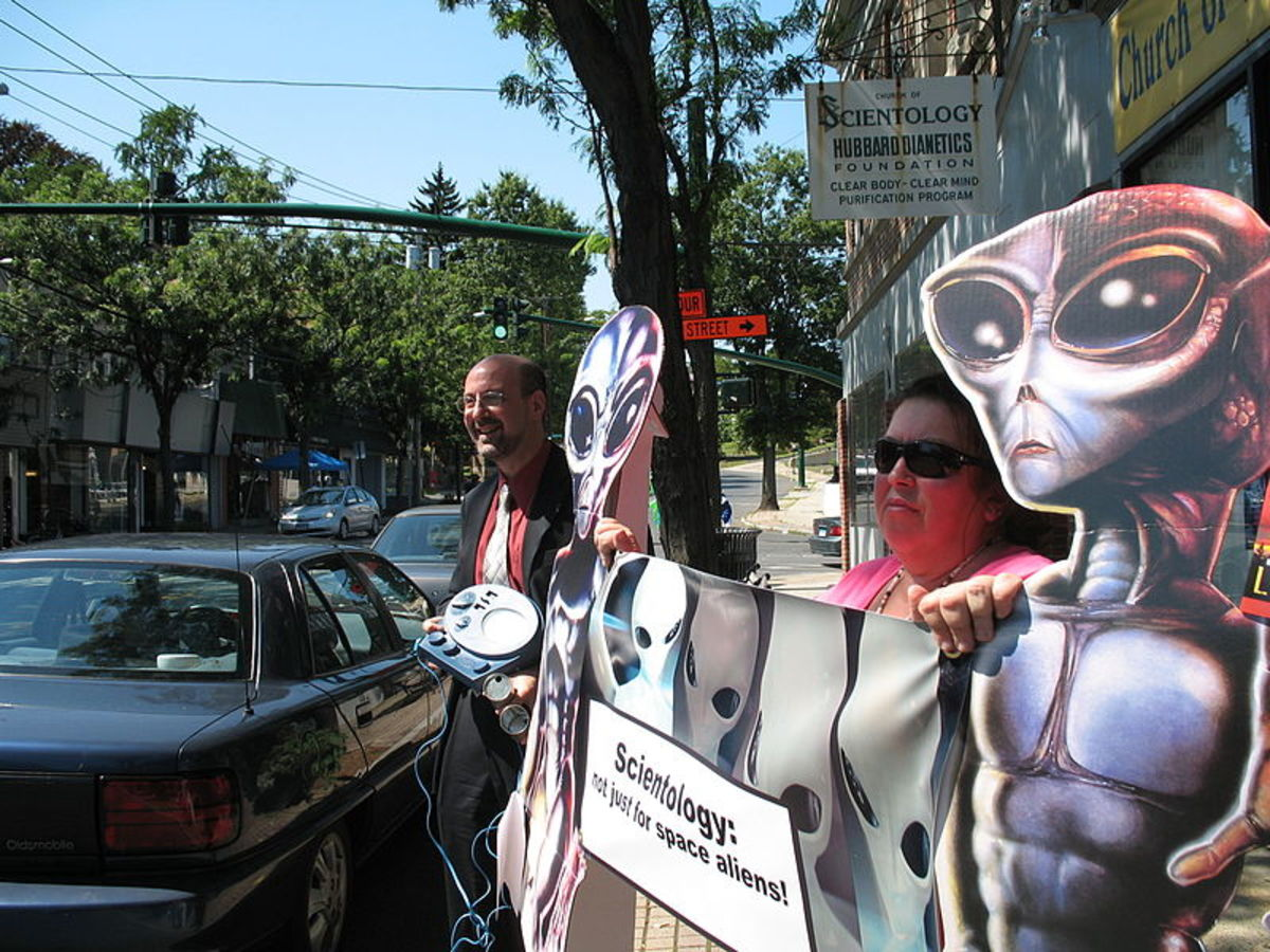 A Scientology protest in 2007