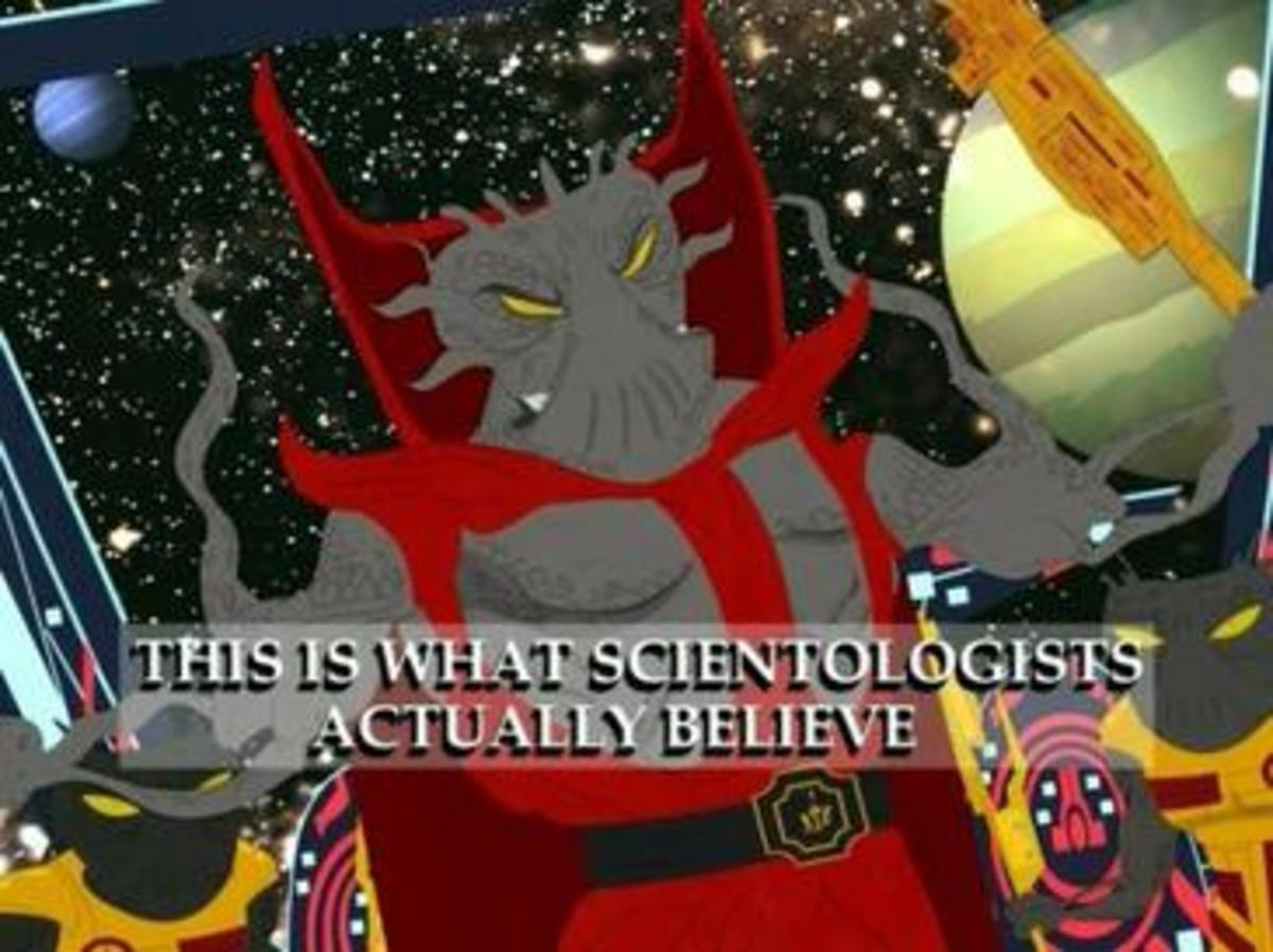 Xenu as depicted in the season 9 South Park episode, Trapped in the Closet.