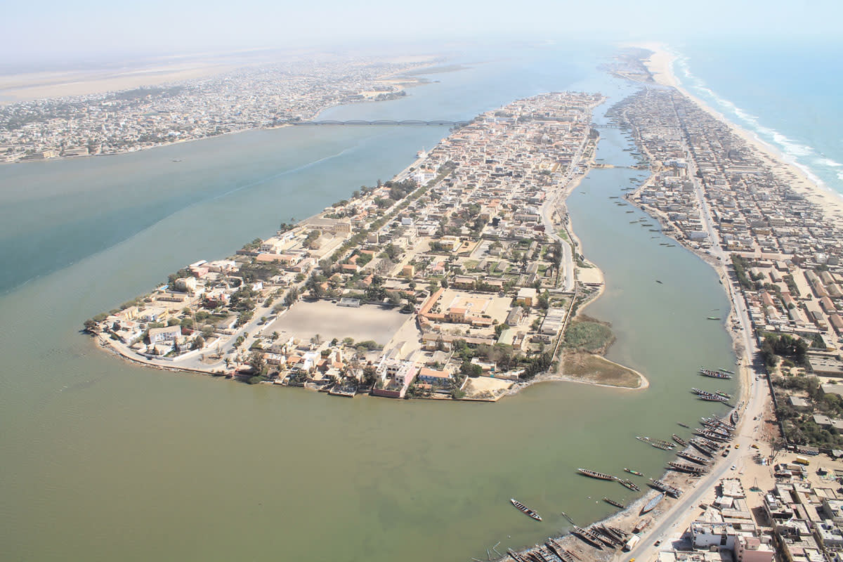 Saint-Louis in Senegal, showing the dilapidated living conditions to the far right.