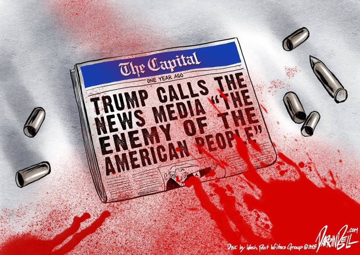 """Trump calls news outlets """"fake news"""" or """"the enemy."""""""