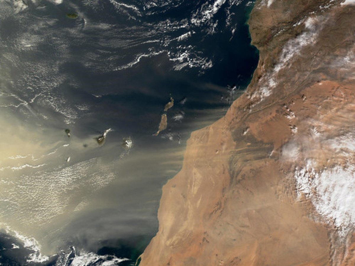 Dust is blown off the Sahara across the Atlantic Ocean.