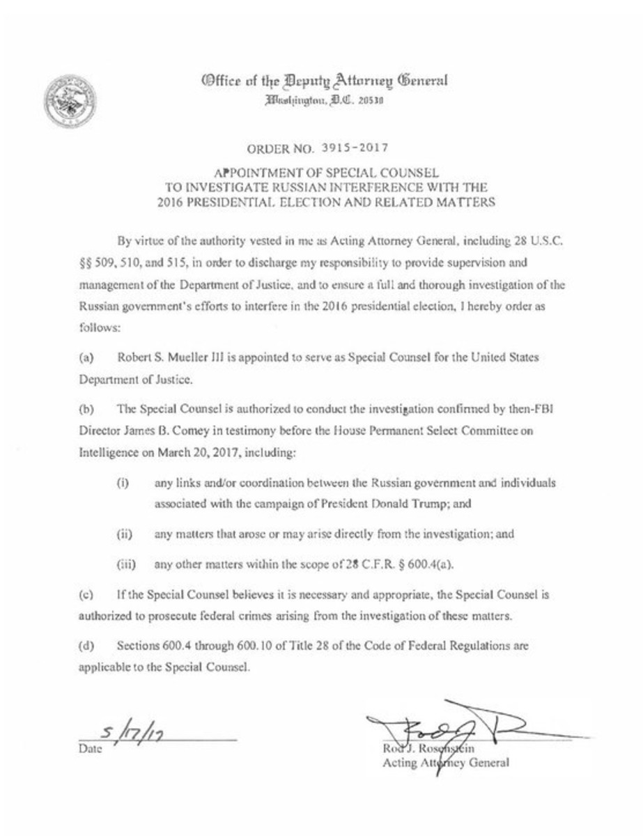 Robert Mueller was appointed as special counsel by Deputy Attorney General Rod Rosenstein.