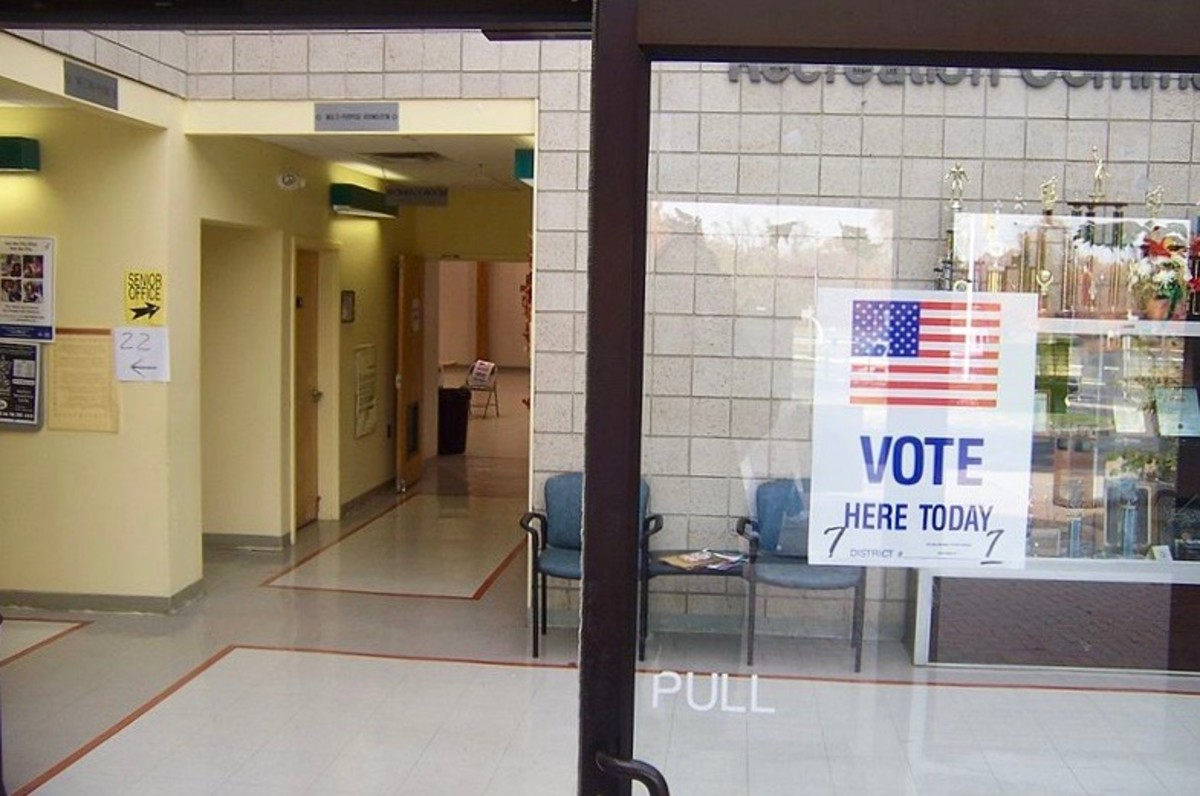 Polling place in New Jersey. Most polling places in the United States are located at schools, community centers, or churches.