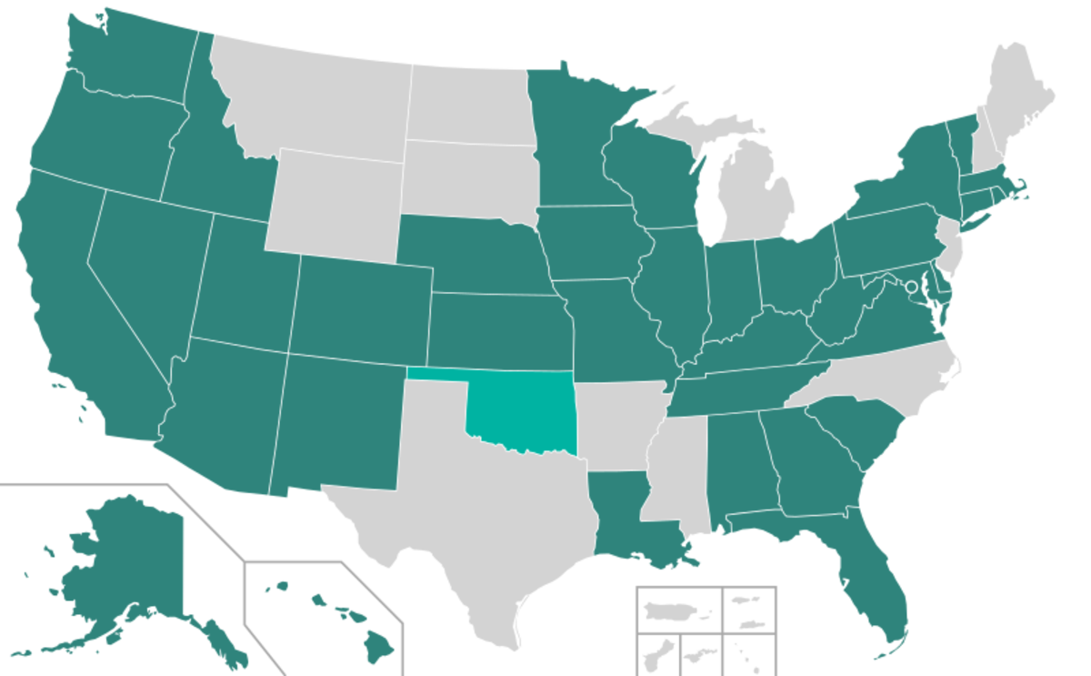 All the states in dark green allow online registration. Oklahoma (light green) is working on it. The grey states do not allow online registration.