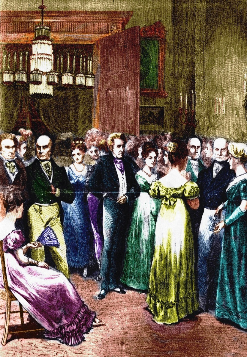 1824 Ball for Andrew Jackson (center). John Quincy and Louisa are on the far right.