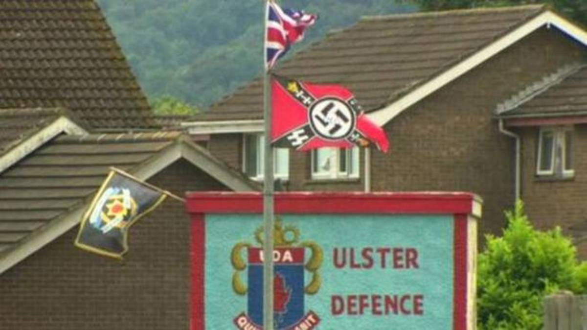 Loyalist UDA mural decorated with neo-Nazi flags