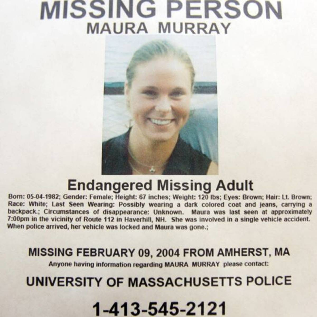 Maura Murray's missing person poster.