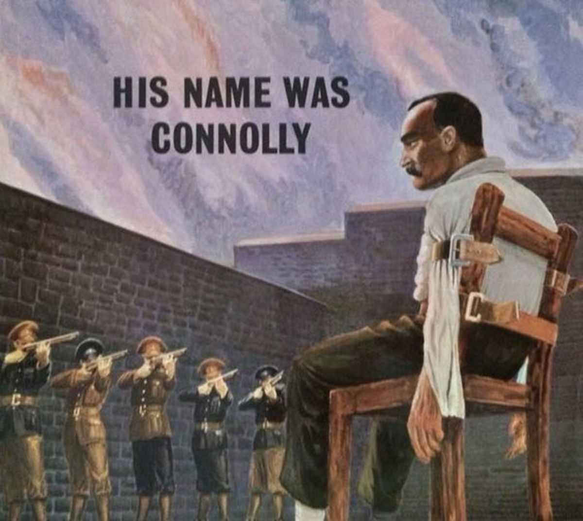 James Connolly, horrifically injured defending the Dublin GPO during the Easter 1916 Rising, was executed by the British for sedition in 1916, tethered to a chair.